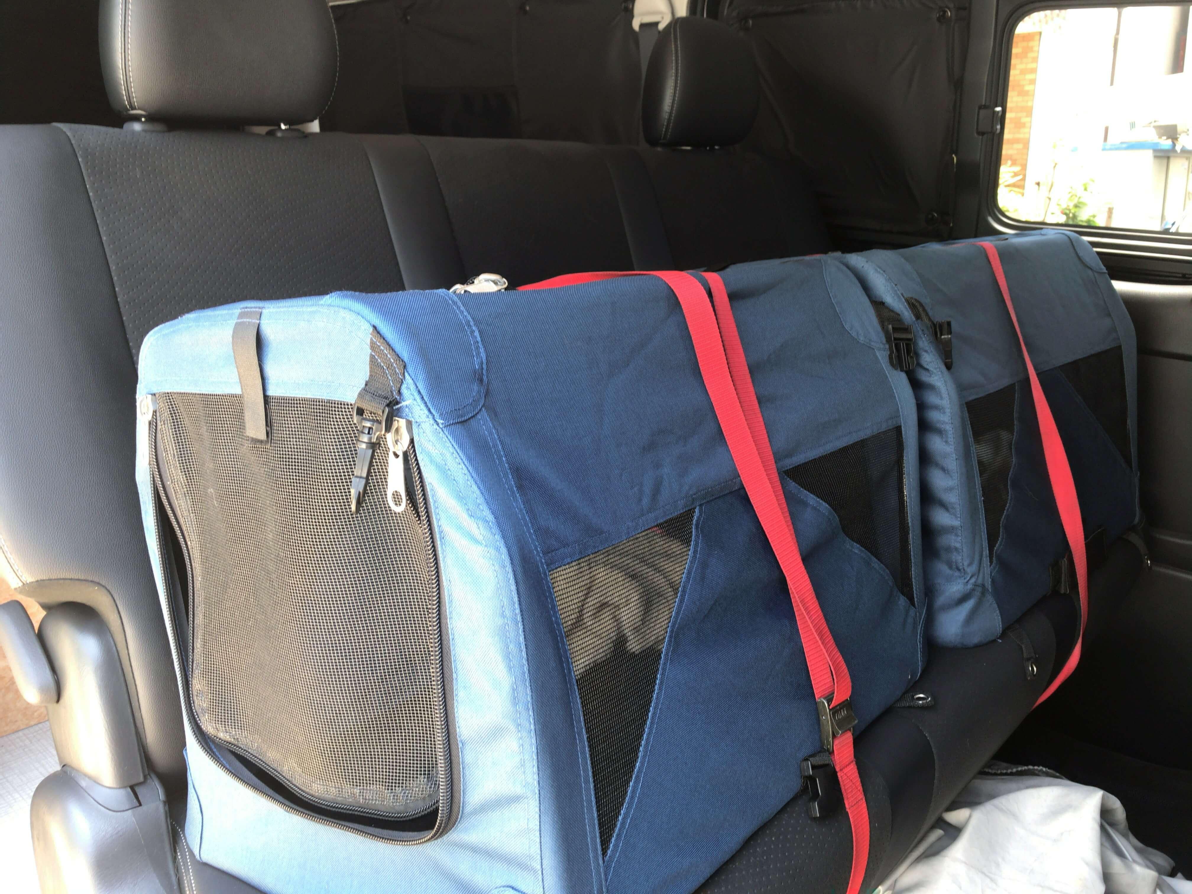 セカンドシートにペット用のケージを荷締めベルトで固定してます
